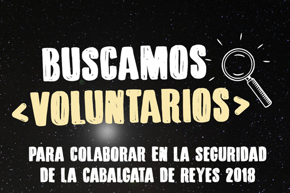 "Cartel de se buscan voluntarios/as parala cabalgata de reyes ""  title="
