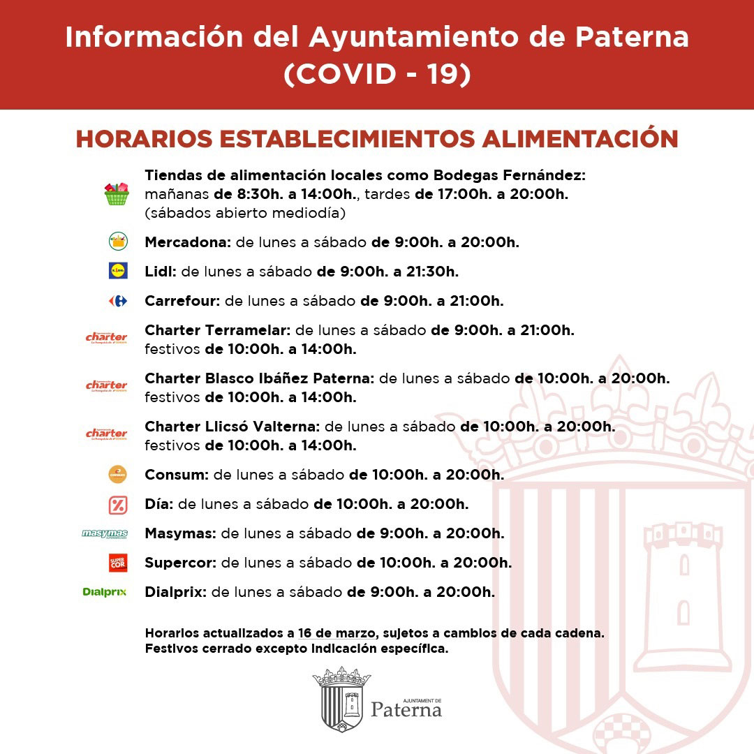 Información del Ayuntamiento de Paterna - Alimentación