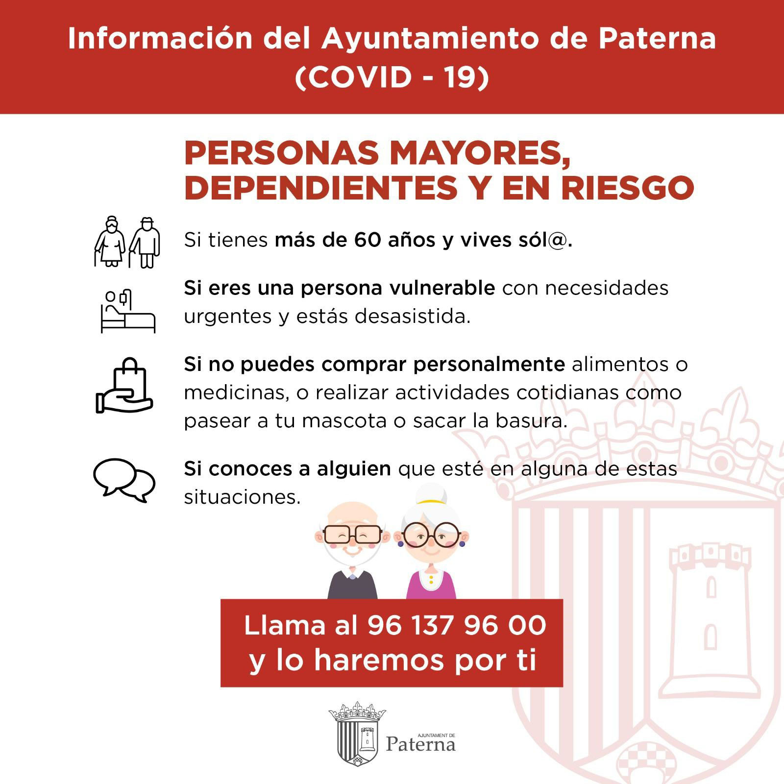 Información del Ayuntamiento de Paterna - Personas mayores, dependientes y en riesgo