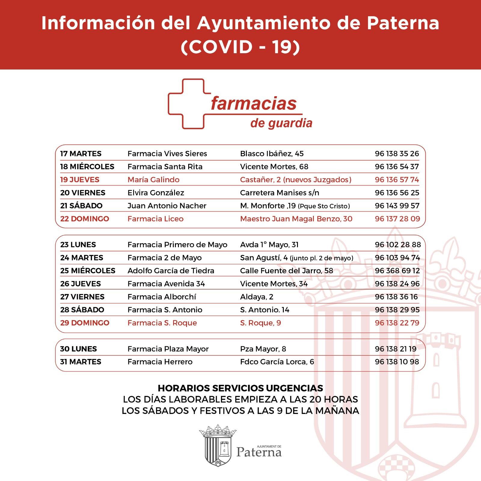 Información del Ayuntamiento de Paterna - Farmacias de guardia