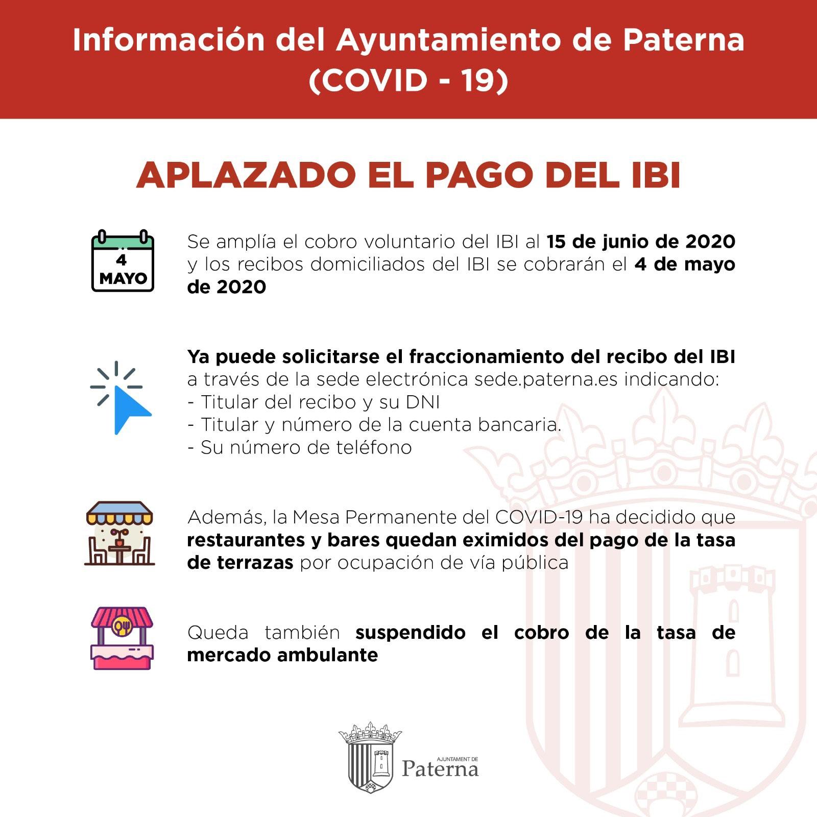 Información del Ayuntamiento de Paterna - Aplazado el pago del IBI