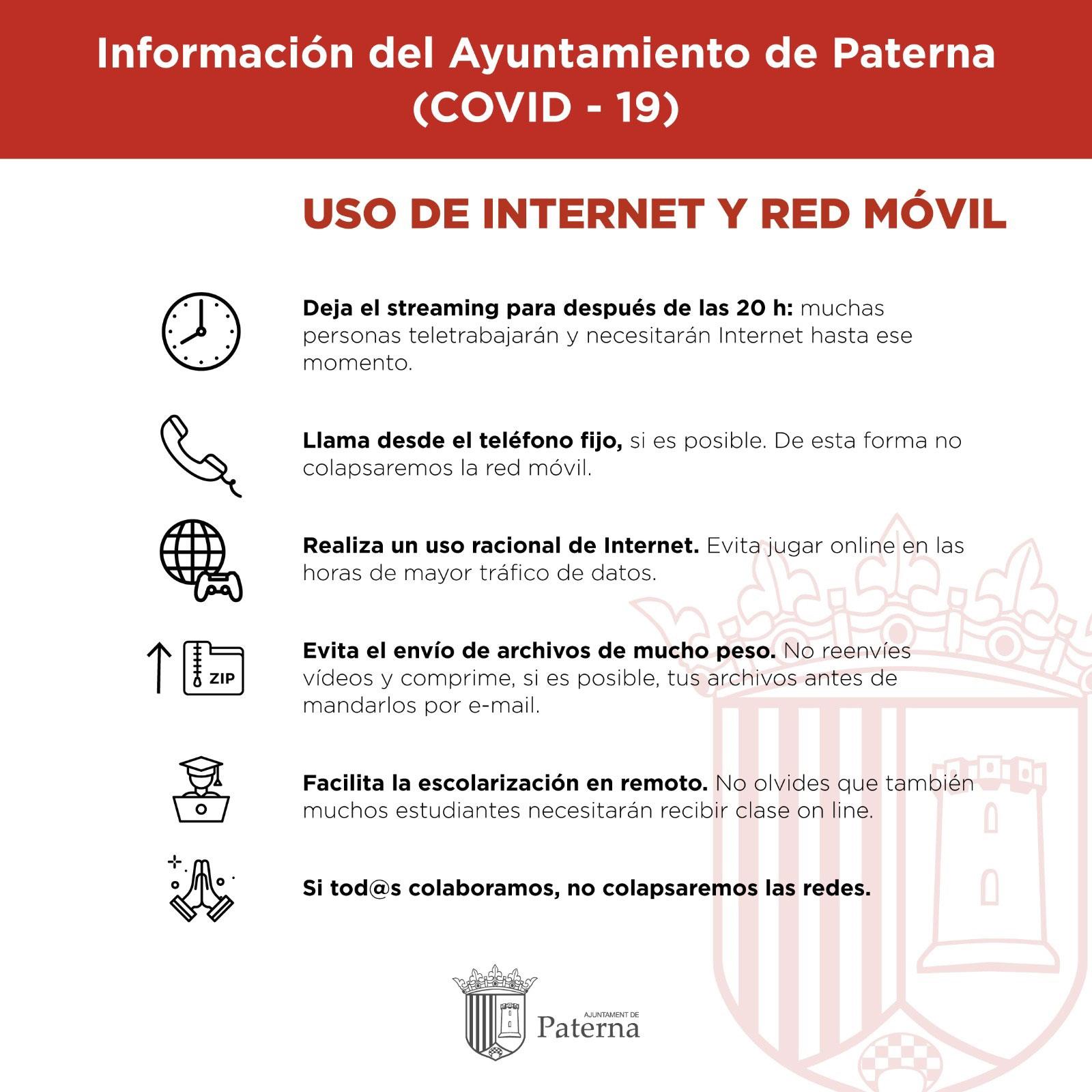 Información del Ayuntamiento de Paterna - Uso de internet y red móvil