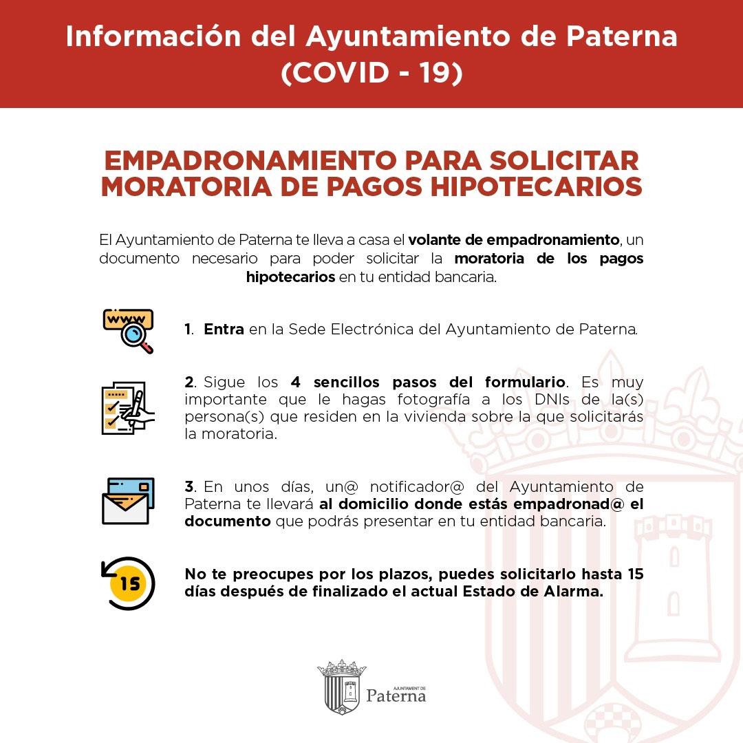 Información del Ayuntamiento de Paterna - Moratoria de pagos hipotecarios