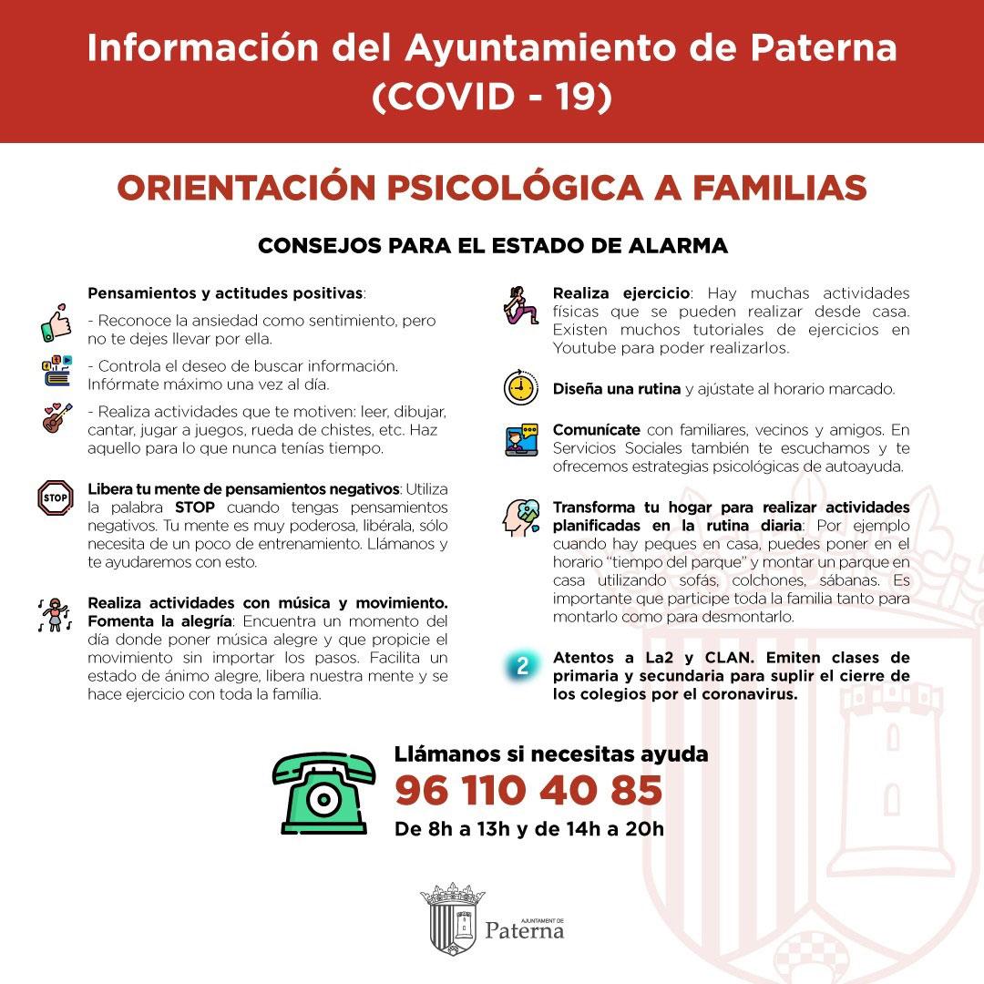 Información del Ayuntamiento de Paterna - Orientación psicológica a familias