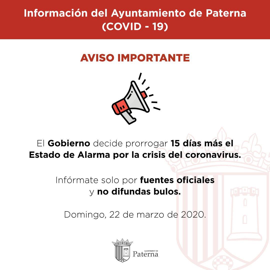 Información del Ayuntamiento de Paterna - Prorrogado el estado de alarma