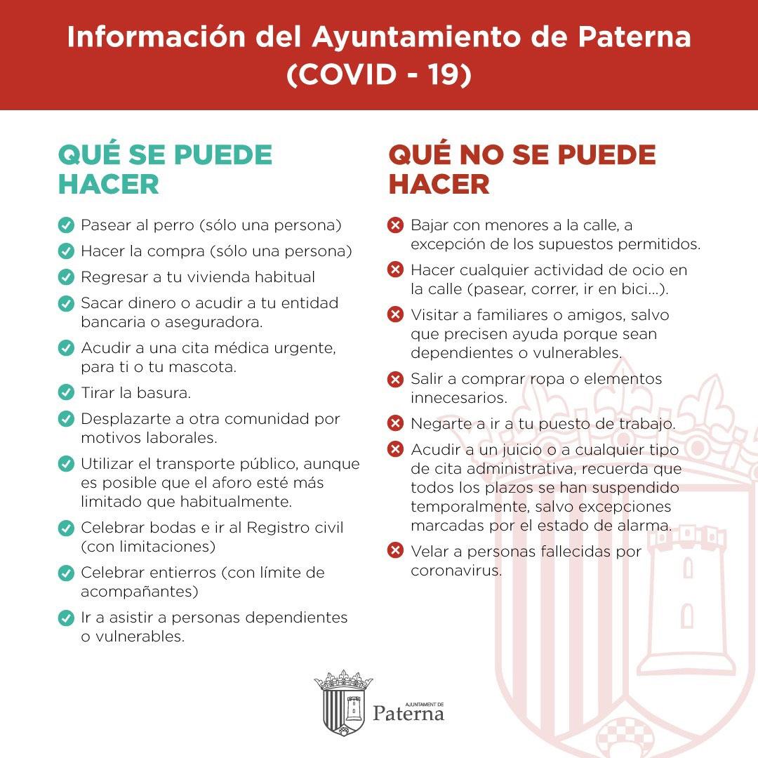 Información del Ayuntamiento de Paterna - Qué se puede y qué no se puede hacer