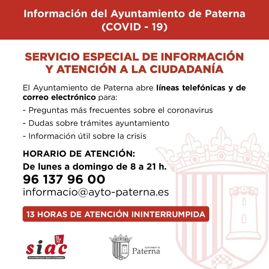 Información del Ayuntamiento de Paterna - Servicio de SIAC especial