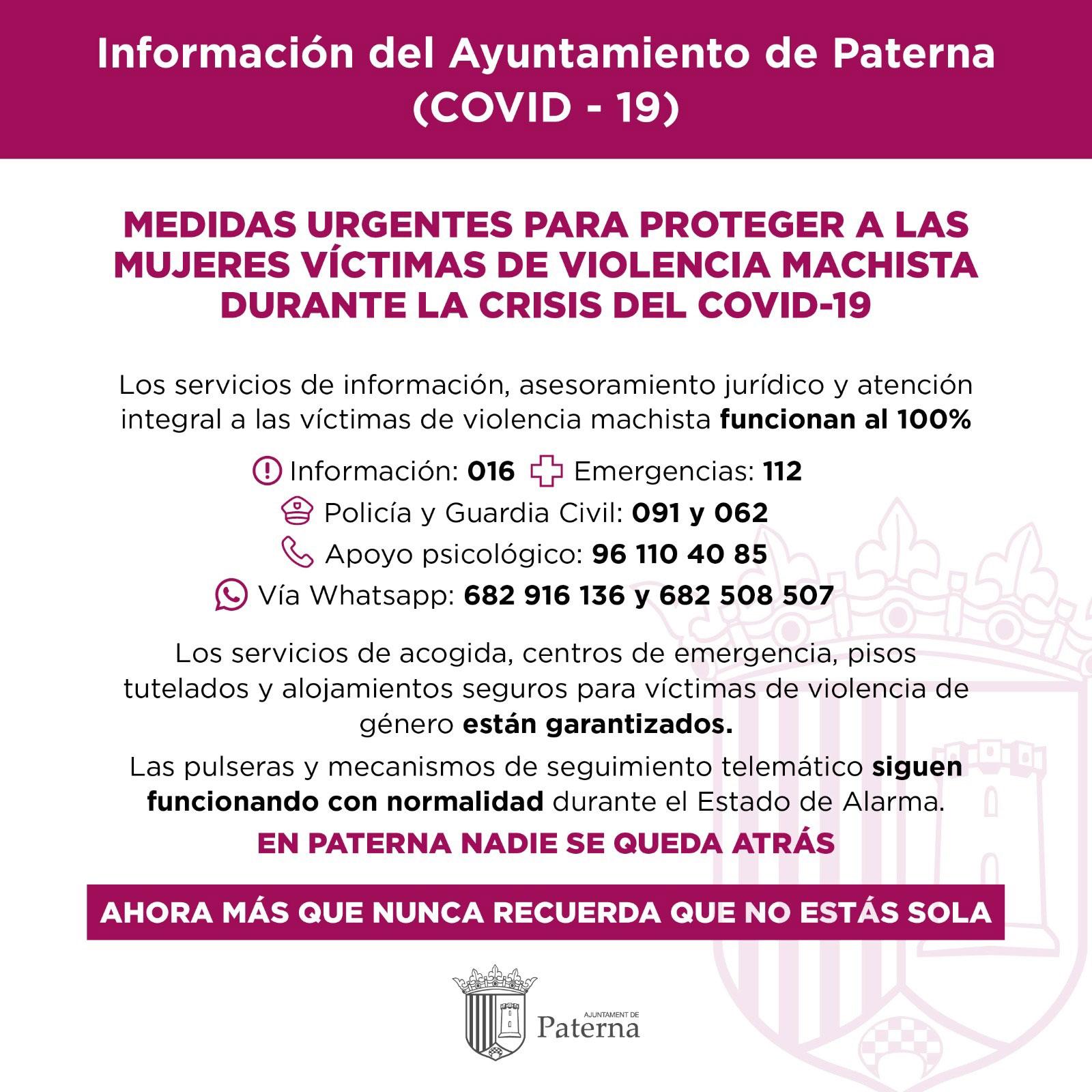 Información del Ayuntamiento de Paterna - Violencia machista